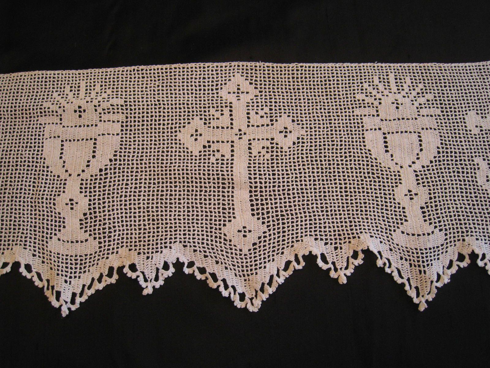 Rare c1920 mary card very ornate filet crochet alb altar for Disenos de cenefas