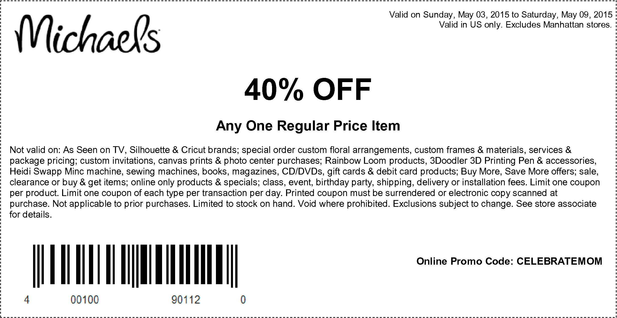 It's just a graphic of Gratifying Hobby Lobby Coupon 40 Percent Off Printable