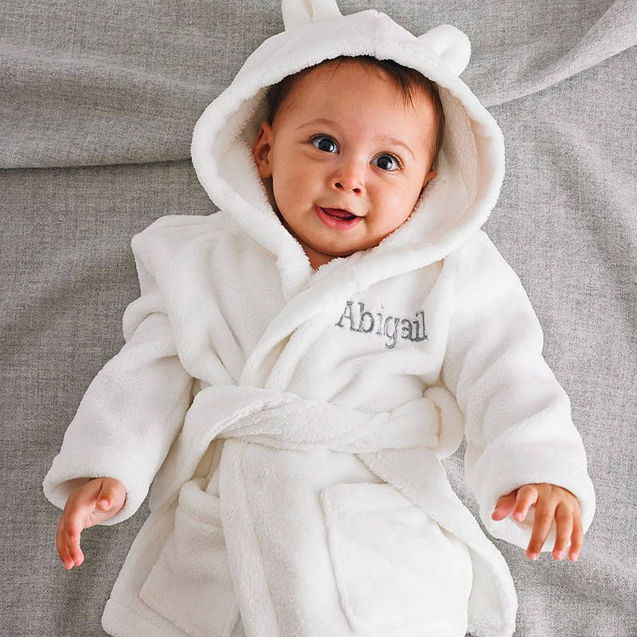 Dressing Gown Personalised Baby Hooded Bath Robe Embroidered Unisex Xmas Gift