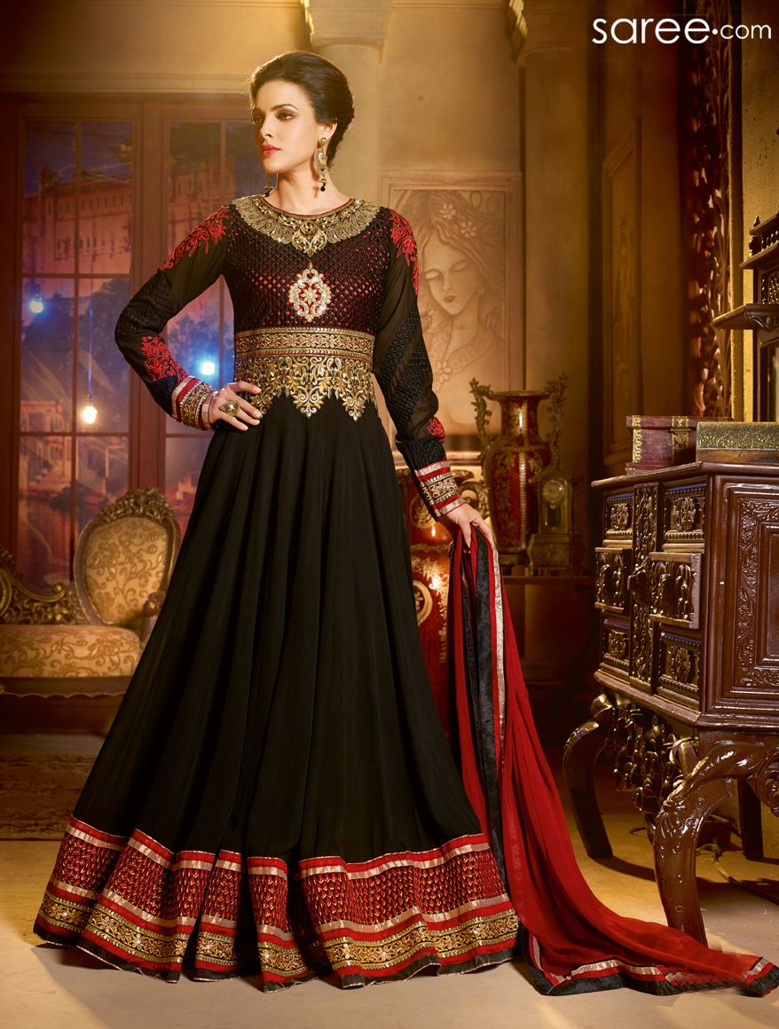 Black and red georgette anarkali suit with zari embroidery work