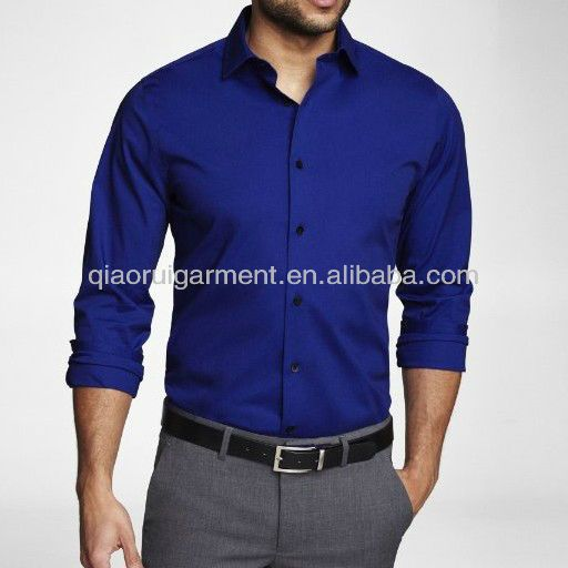 differently first look picked up Men's Royal Blue Slim Fit Dress Shirt uniform shirt in 2019 ...