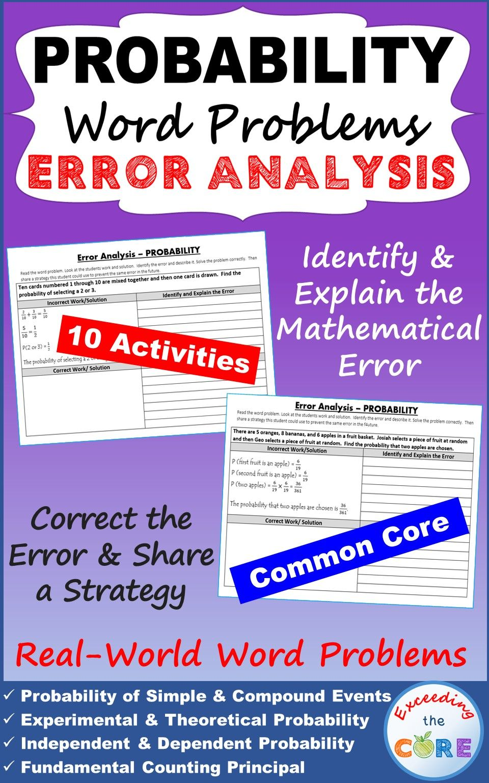 Have Your Students Apply Their Understanding Of Probability With These Error Analysis Activities This Probability Word Problems Word Problems Error Analysis