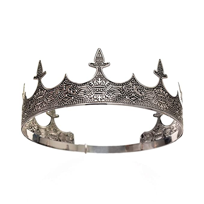 Amazon Com Sweetv Antique Silver King Crown Men S Crown For Prom King Party Decorations Royal Medieval Crown An Medieval Crown Tiara Accessories Male Crown