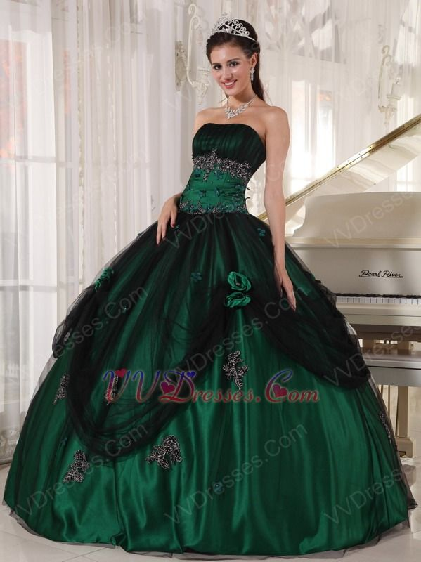 green outfits | ... Green Color Dresses :: Puffy Floor-length Dark ...