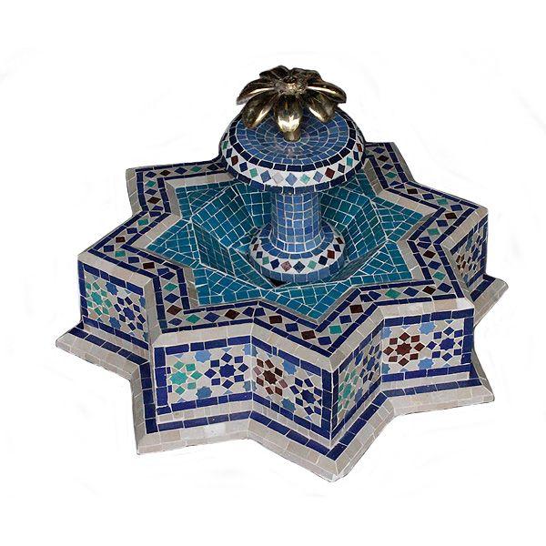 Jardin Arabe: Fuente De Agua Mosaico Estrella Azul