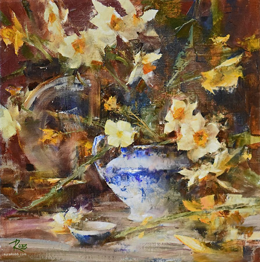 Flow Blue And Narcissus Laura Robb Oil 14 X