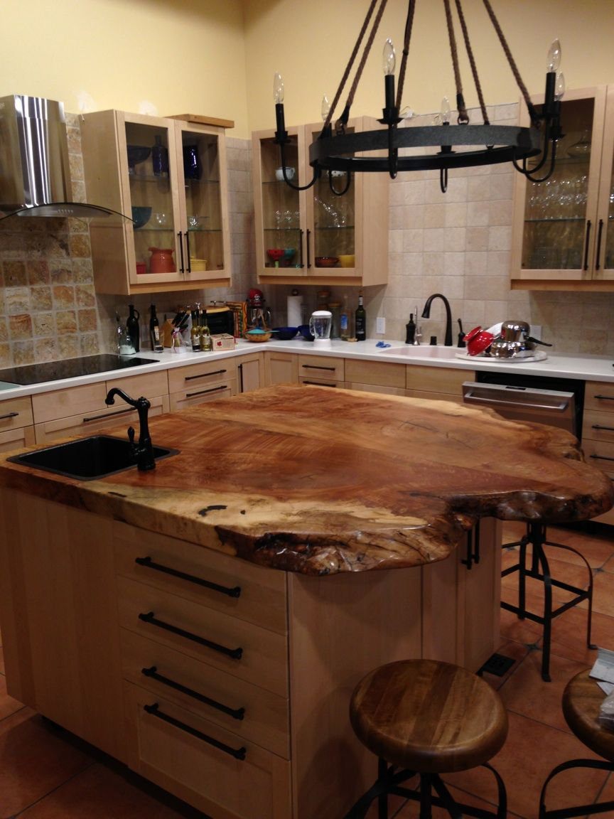 A Spalted Maple Top On A Kitchen Island Live Edge Bar