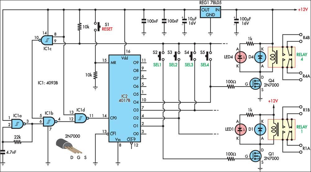 Pushbutton Relay Selector schematic Circuit, Circuit