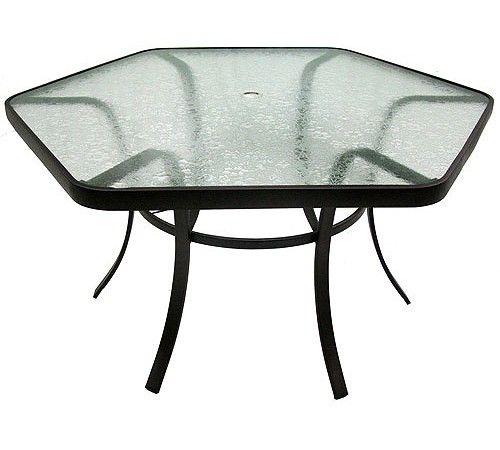 Hexagon Glass Patio Table
