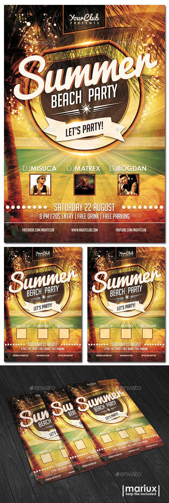 Summer Beach Party Flyer Template Design Download HttpKsioks