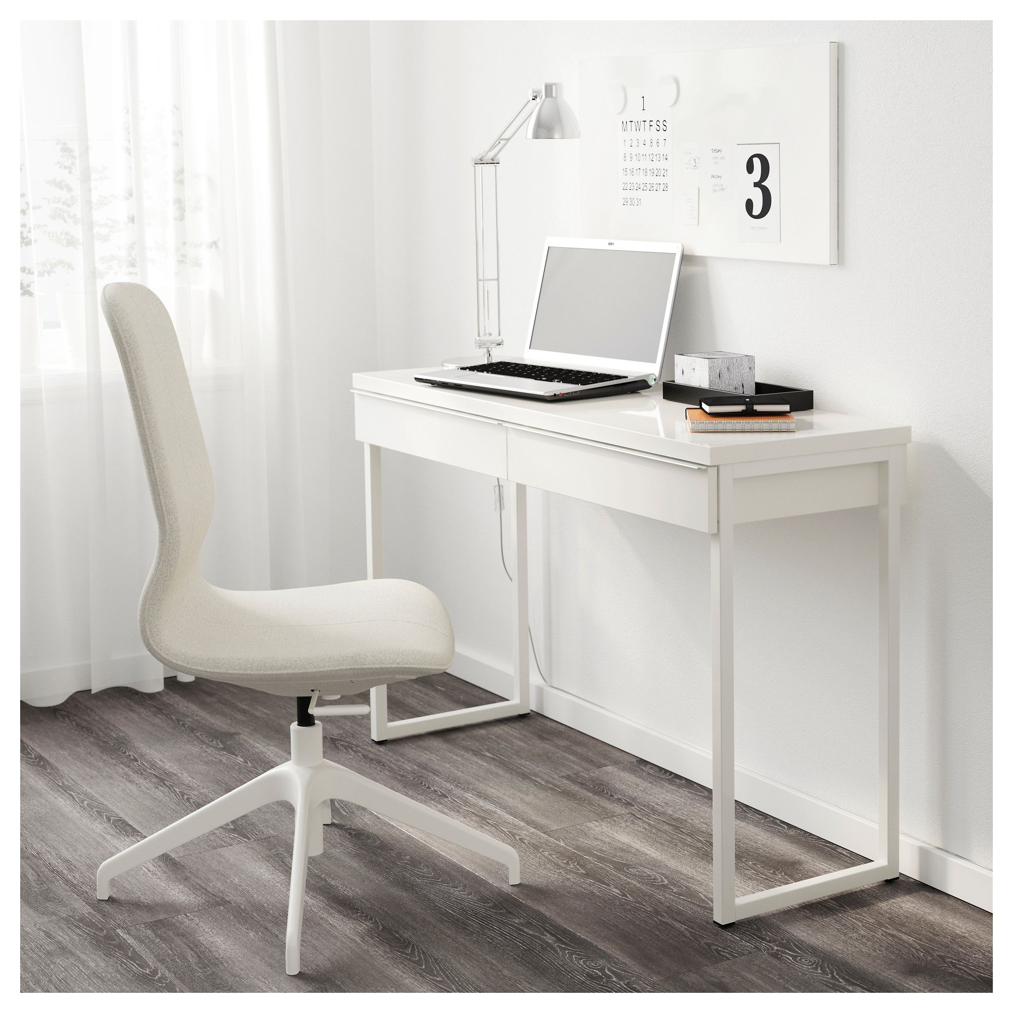 IKEA BESTÅ BURS Desk high gloss white Home office