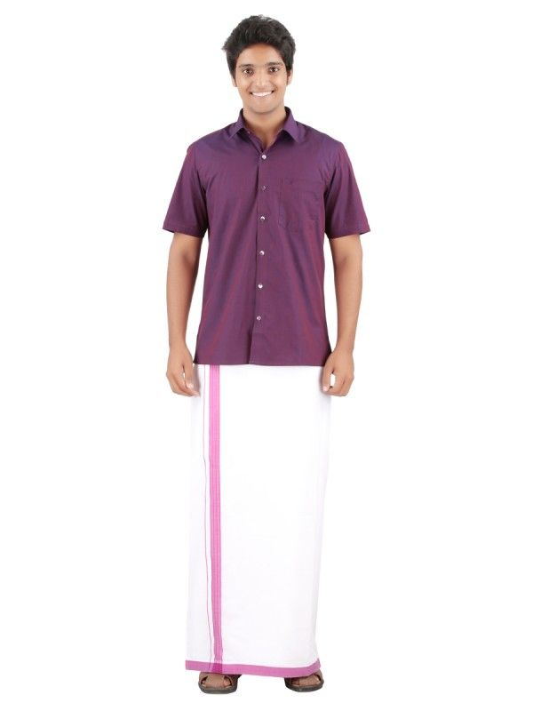 f1ba0d3d0536a www.ramrajcotton.in men dhotis velcro-dhotis page 1 - Velcro Dhotis made of  100% cotton fabric. Violet Border dhoti.45 inches height. Double dhoti.