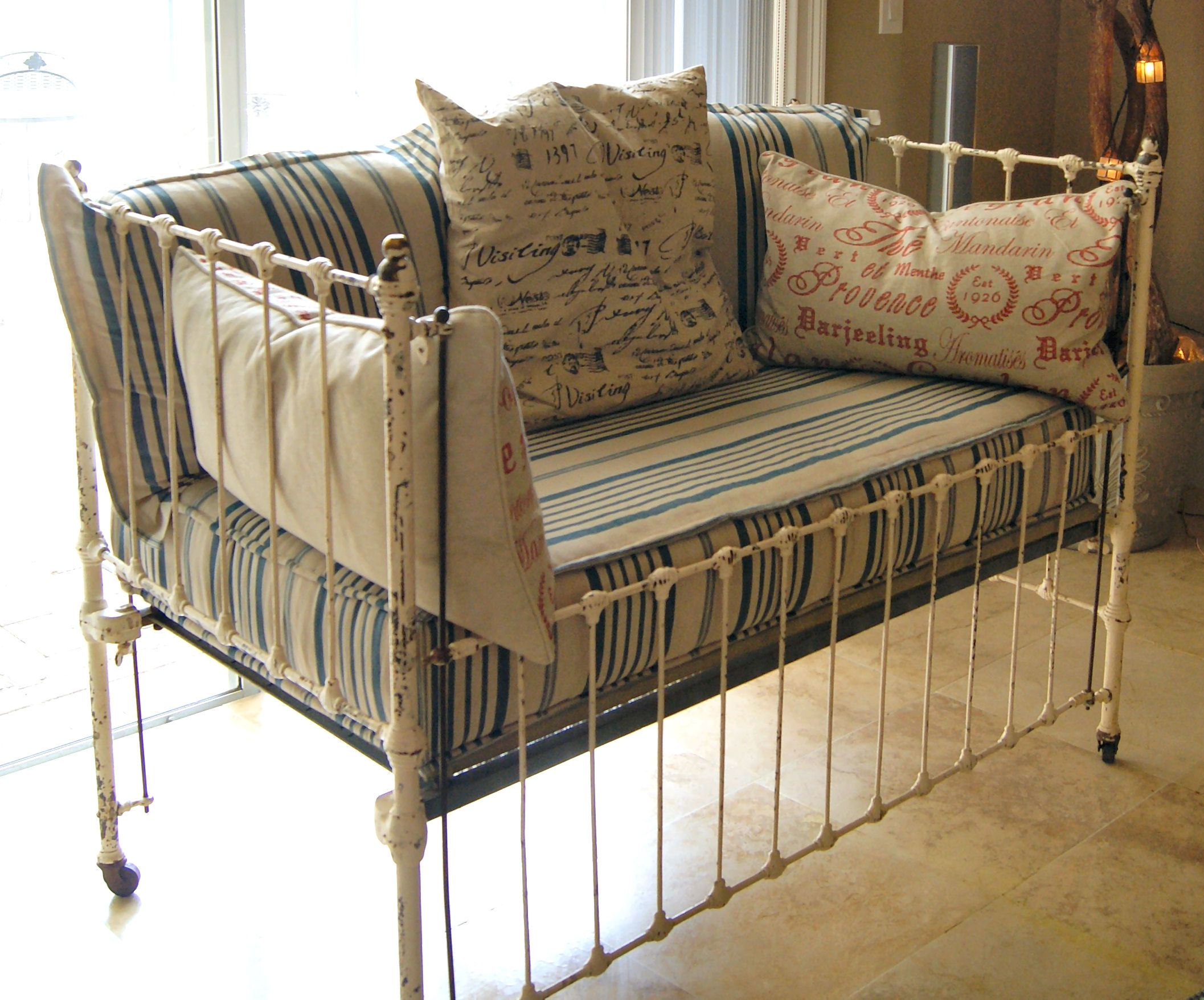 Exquisite Antique Iron Crib / Settee from France! Can't ...