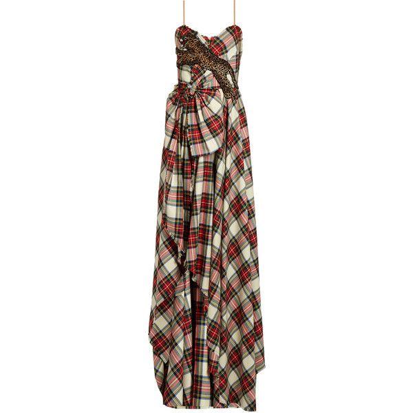 Gucci Leopard-appliqué wool tartan gown (520.060 RUB) ❤ liked on ...