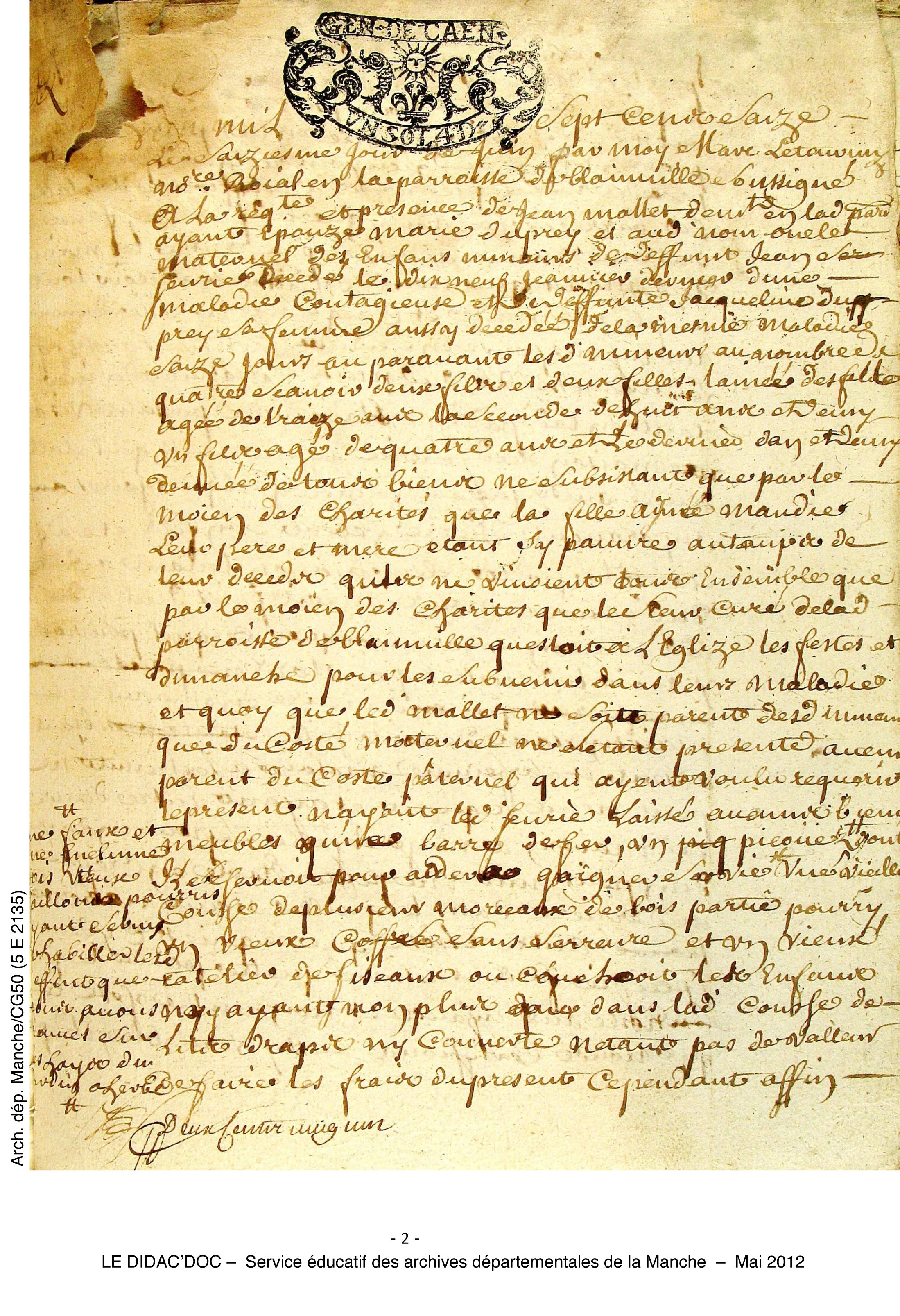 French Document Orphelin Deces