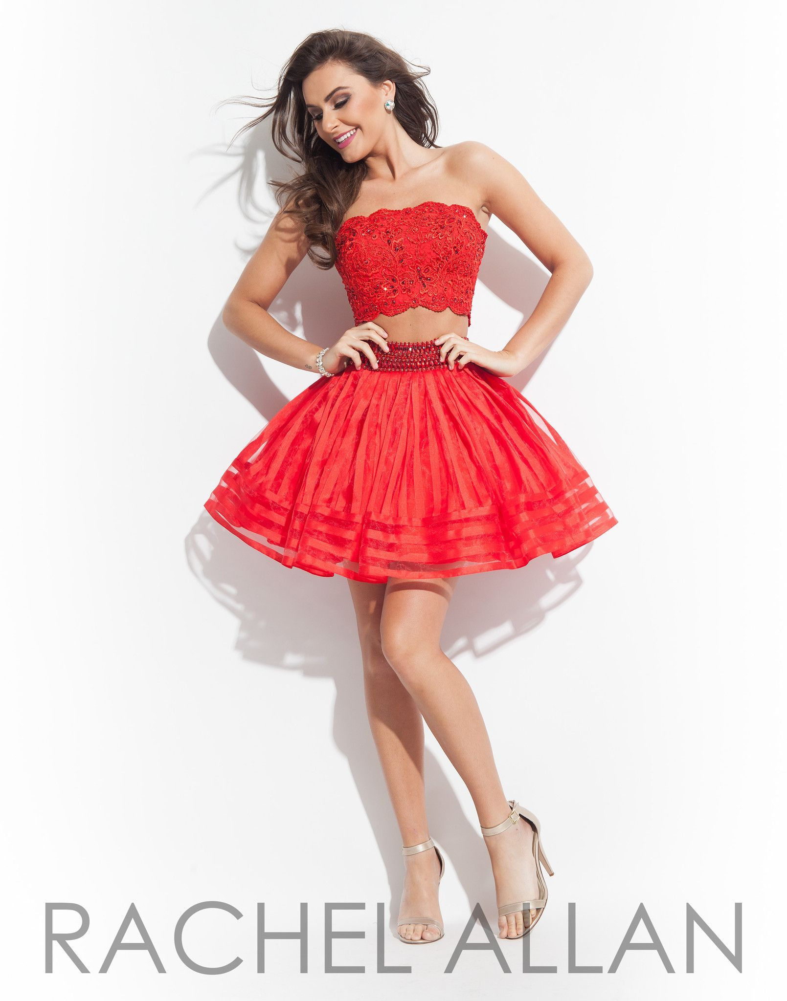 Rachel allan red two piece homecoming dress short dresses