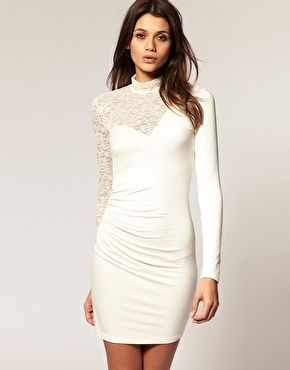 ASOS  body-conscious dress with lace sleeve $50 sexy mini dress #fashion #outfit #clothes #women #dress #style #stylish #lace #white #romantic #feminine #date #party #sexy #cocktail #modern #trendy #spring