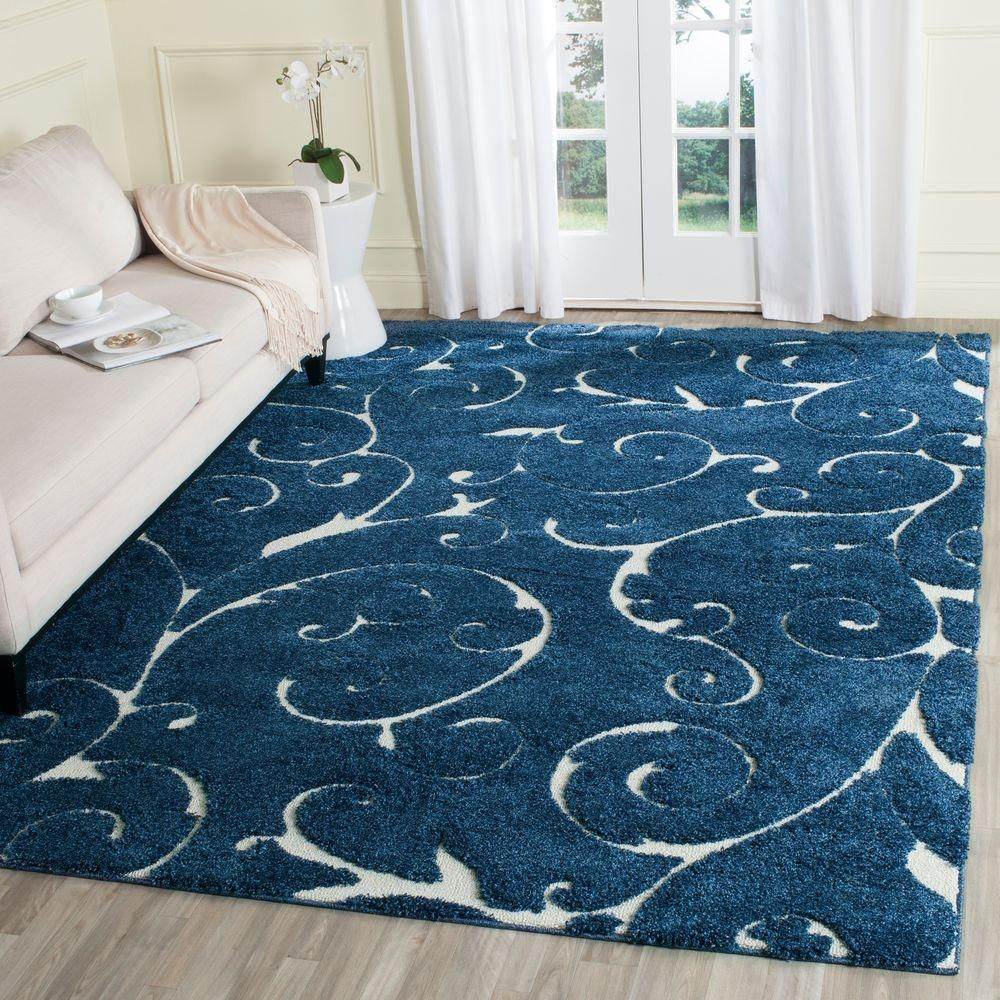 10 by 12 rug. Florida Shag Dark Blue/Cream (Dark Blue/Ivory) 8 Ft. X 10 Area Rug By 12 R