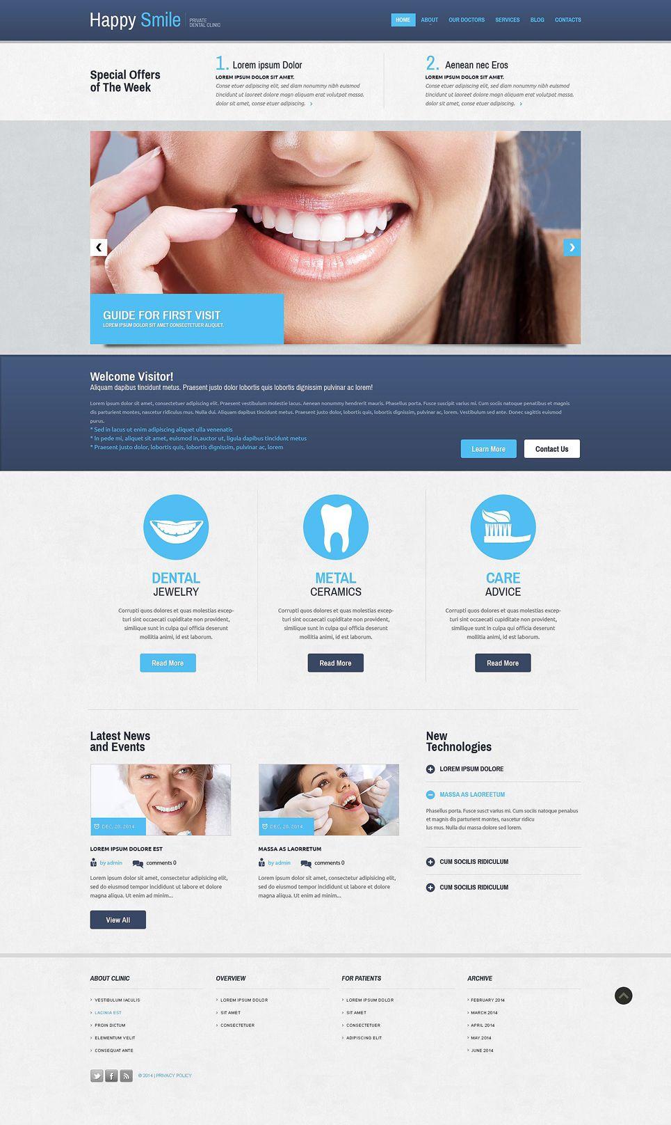 Dentistry Responsive Website Template 52394 Dentistry Responsive Website Template Business Website Design Templates