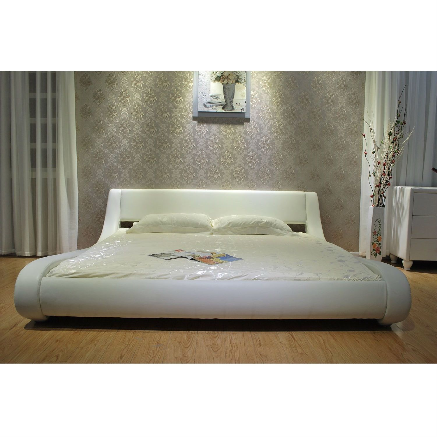 Best Queen Modern White Upholstered Platform Bed With Curved 400 x 300