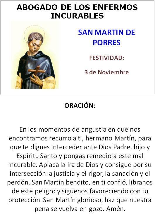 San Martin De Porres Abogado De Los Enfermos Incurables Oraciones