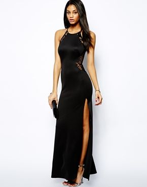 Image 4 ofTFNC Maxi Dress With Lace Mesh Inserts
