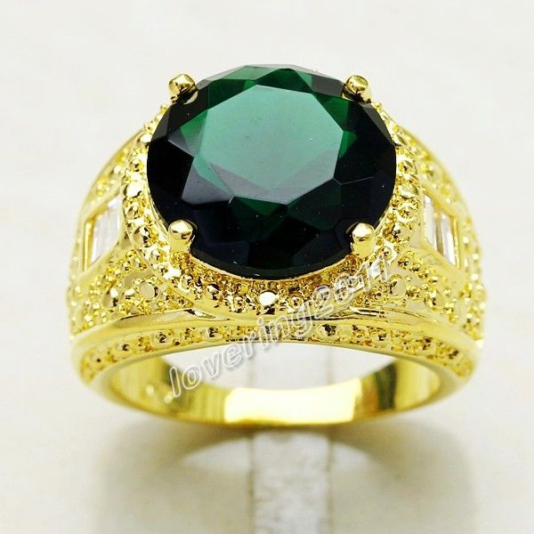 Emerald Gold Rings For Men Gem 18k gold gf ring size