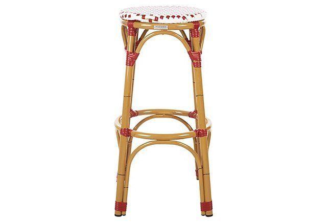 Outdoor Odeon Stool, Red/White | One Kings Lane