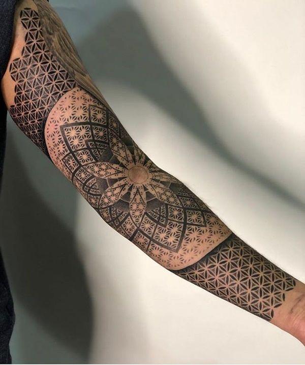 39 Best Mandala Forearm Tattoo Designs For Men And Women Geometric Sleeve Tattoo Mandala Tattoo Sleeve Flower Of Life Pattern
