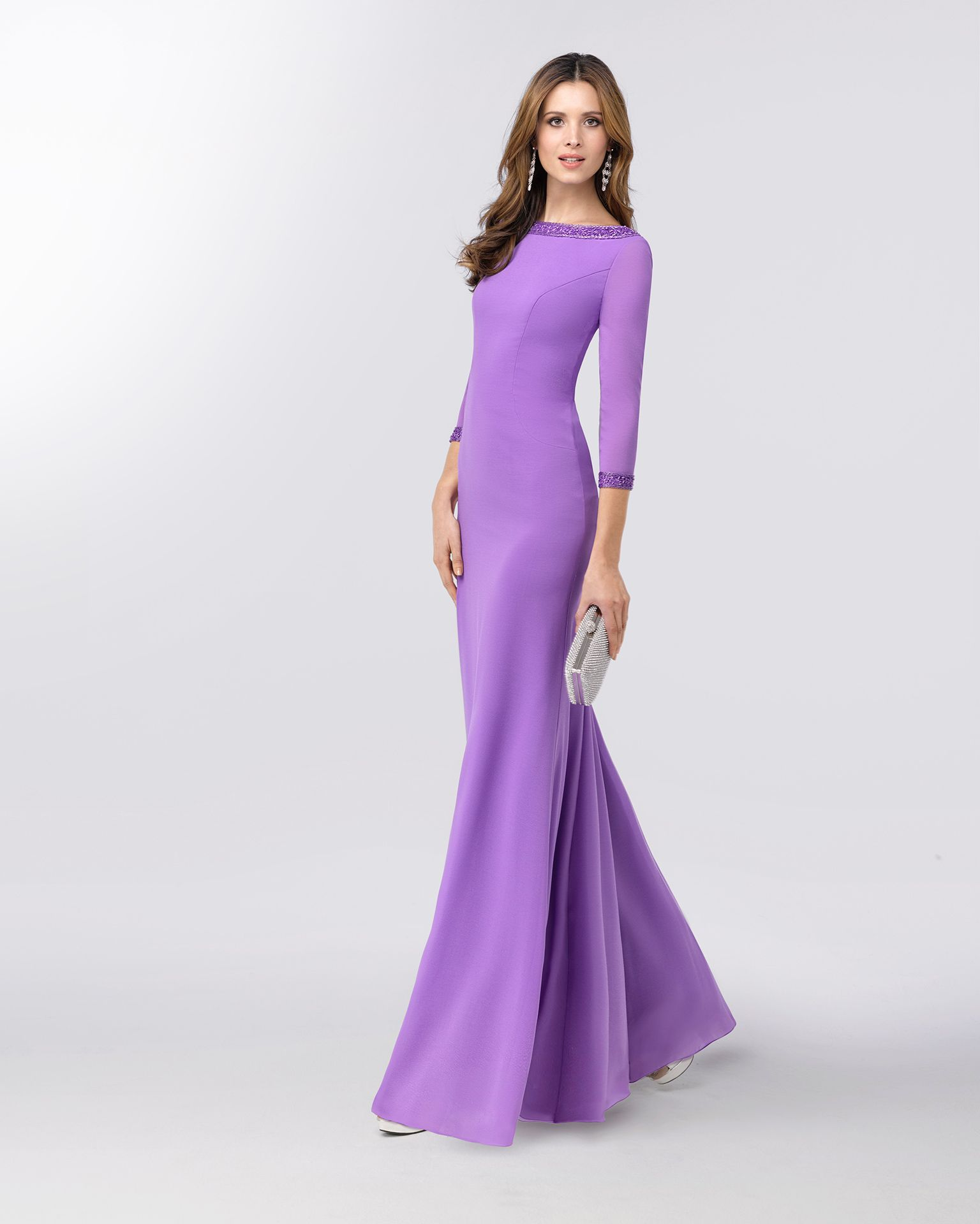 9491cc938b5 Crepe Georgette cocktail dress with three-quarter sleeves