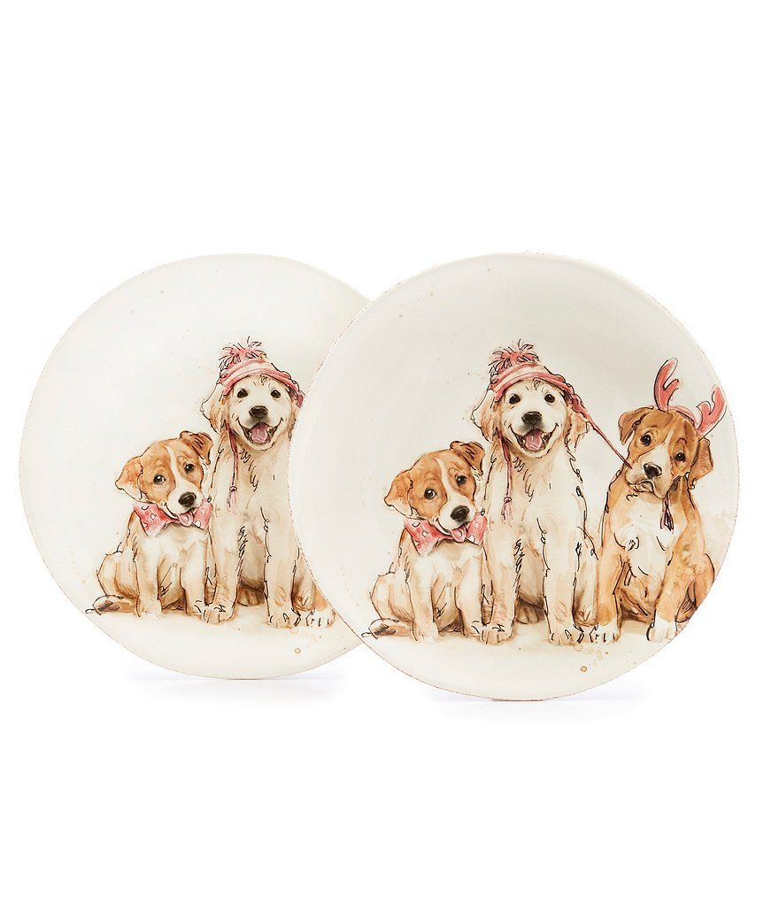 Southern Living Holiday 3 Dog Accent Salad Plate Set Of 2