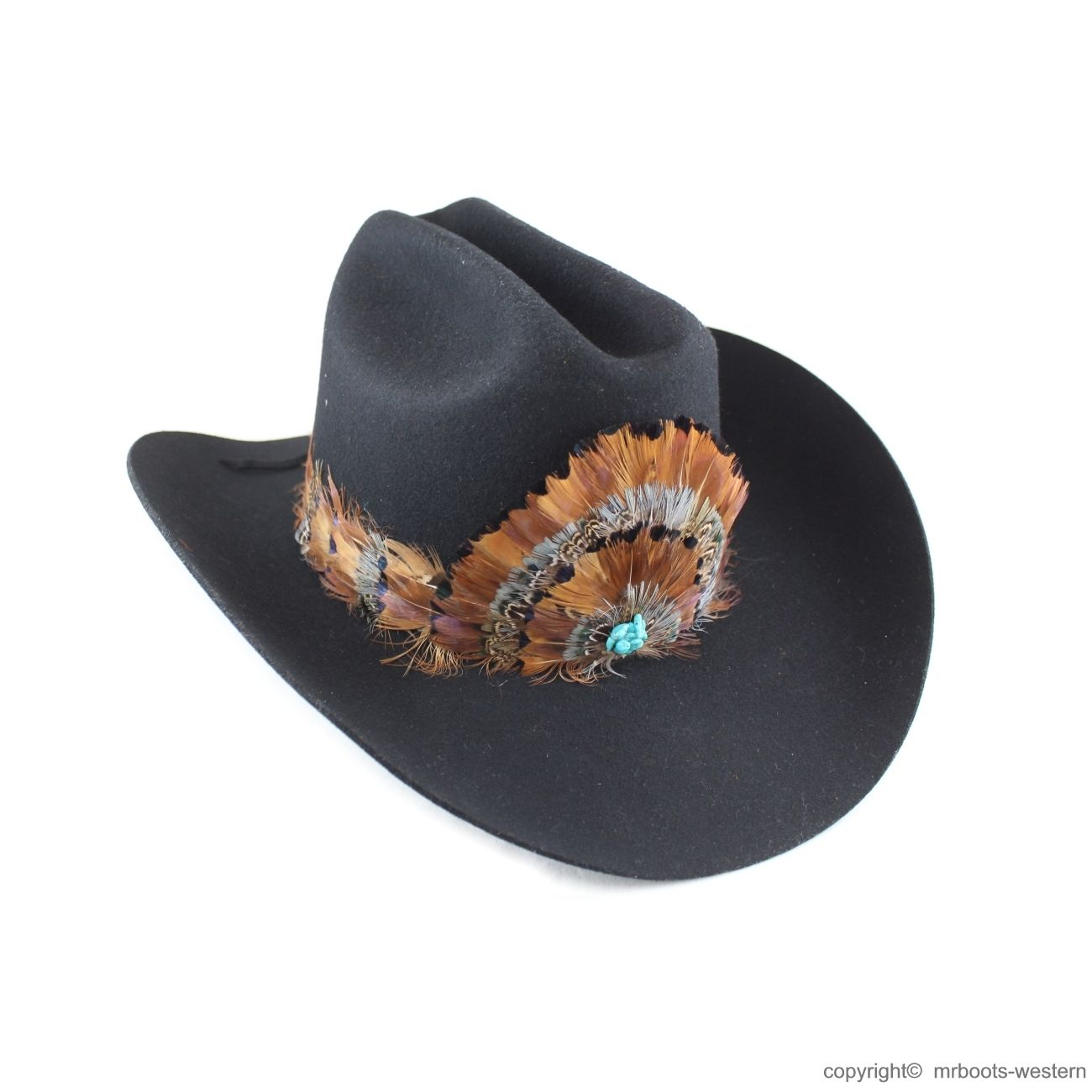 Au Fhb 08 Feather Hat Band Natural Brown With Turquoise Center Feather Hat Felt Cowboy Hats Hat Band