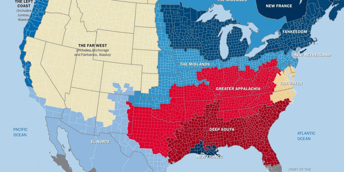 This Map Shows The US Really Has Separate Nations With - Us map of political parties