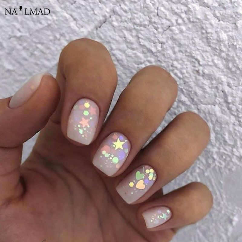 Kaufen 3 ml/box Nail art Glitter Mix Stern Herz Hexagon Acryl Glitter Mischt Nagel Pailletten Bunte Glitter Nail art Dekorationen #nailart