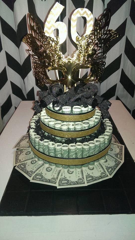 Custom Birthday Black Gold 60th Money Cake by BabyCakesBySuziQ