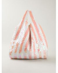 Mua Mua Sequin Embellished Striped Tote pink - Lyst