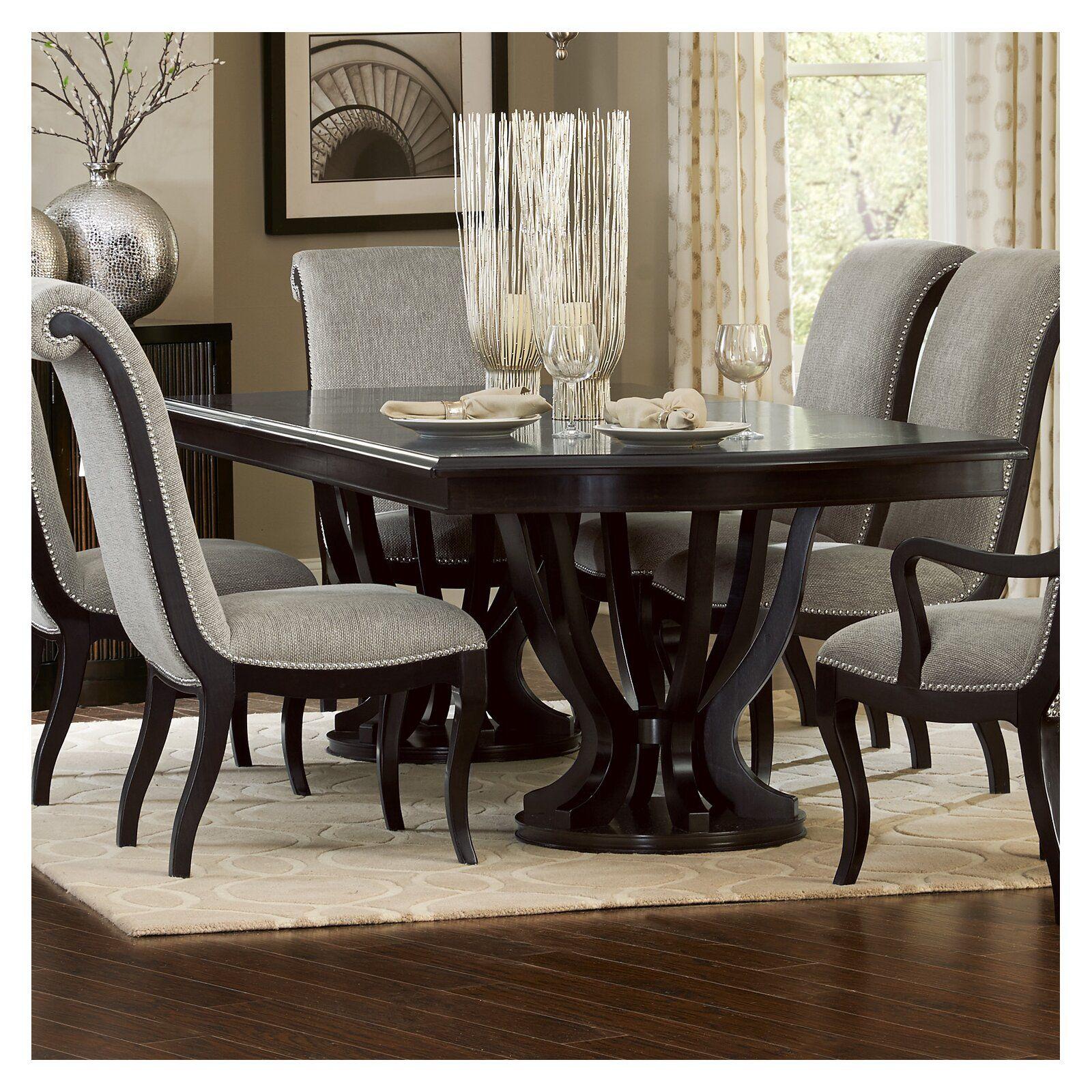 Canora Grey Baypoint Dining Table Wayfair Double Pedestal