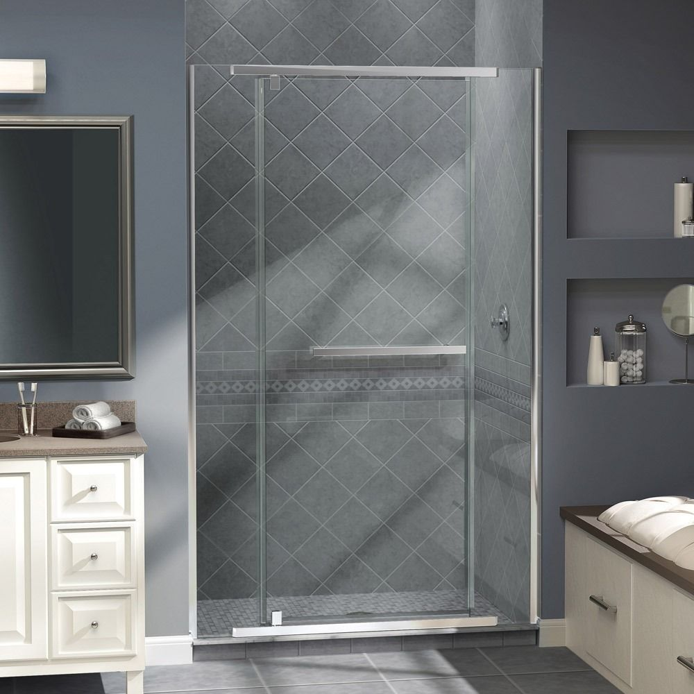 The Vitreo-X shower door delivers a modern frameless design for the high end look of custom glass at an incredible value. Brand: Dreamline Dimensions: 72 inches high x 46 - 46.75 inches wide 0.375 (10