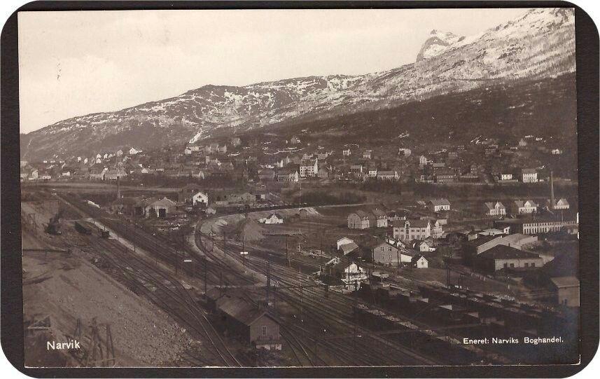 Narvik i Nordland fylke. Jernbaneområdet. Utg Narviks Boghandel. Stemplet Narvik -1931.