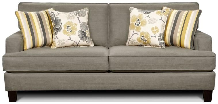Zara Contemporary Smoke Grey Sofa with Track Arms by Fusion Furniture