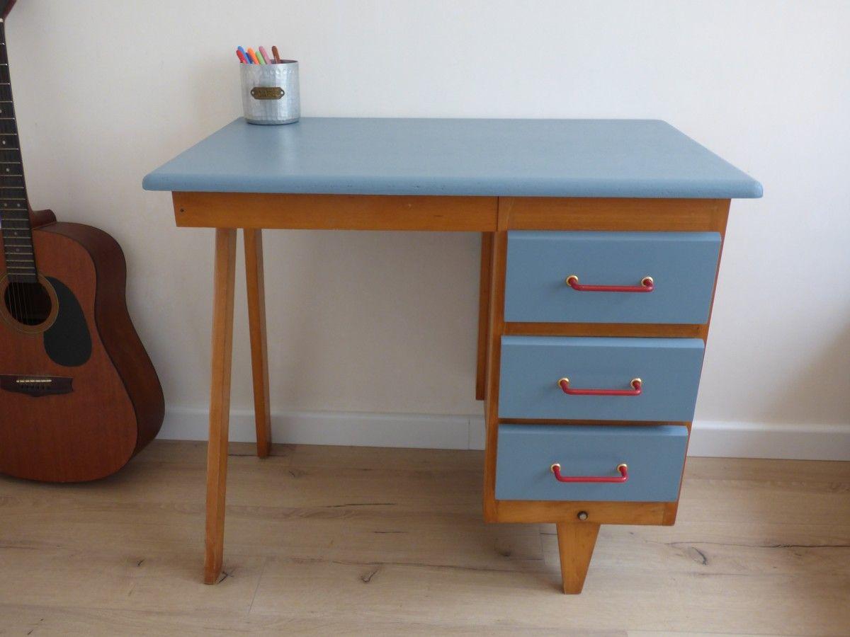 Petit bureau vintage pieds compas années mobilier vintage