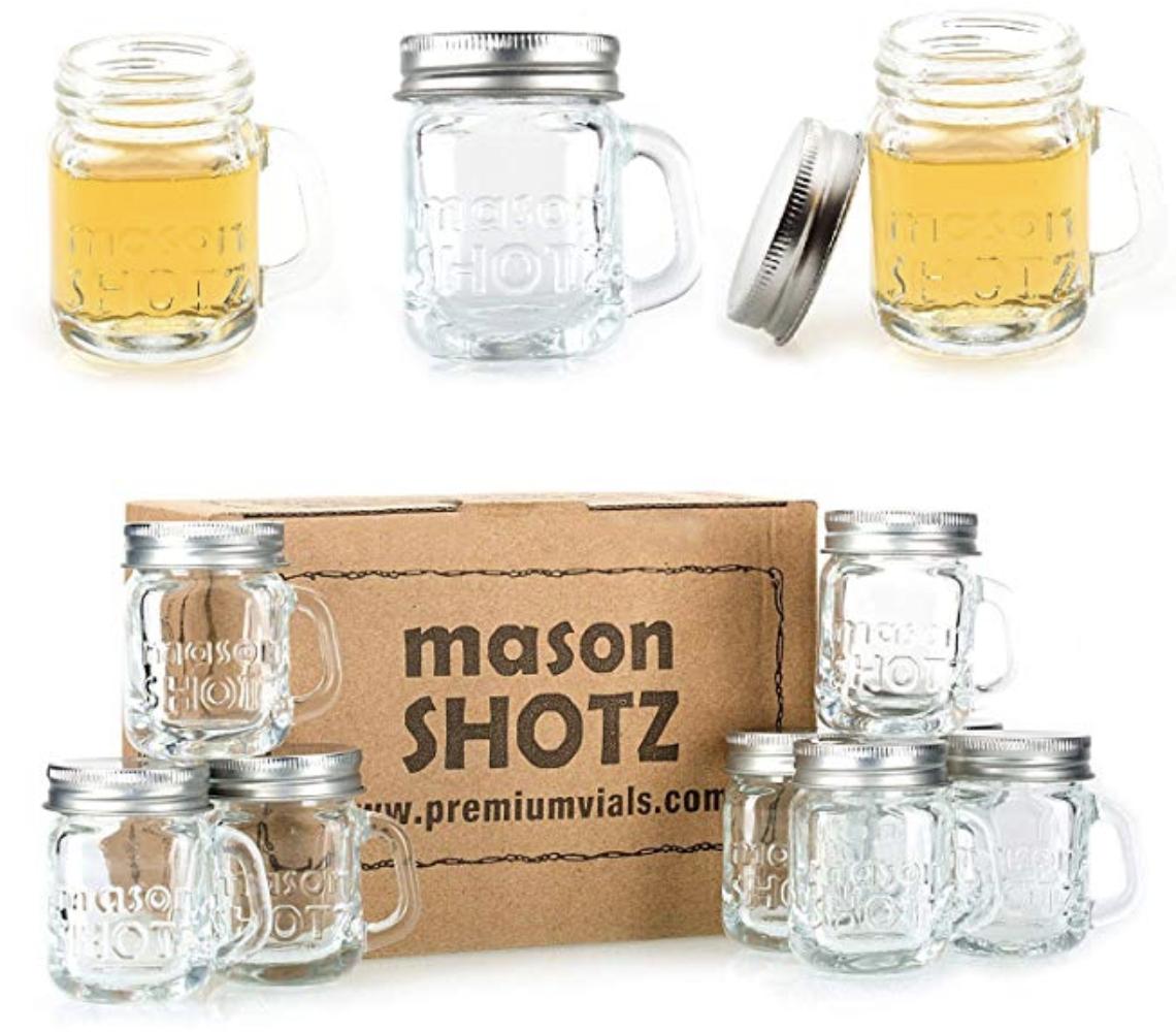 Pin By Andrea Hebrio On Weddingthings Mason Jar Shot Glasses Mini Mason Jars