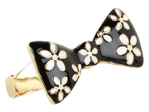 Betsey Johnson Pretty Polka Dot Flower Bow 2 Finger Ring Black/White/Antique Gold - 6pm.com