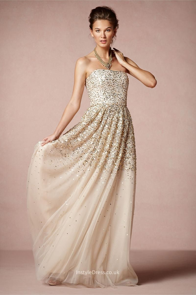 I love this idea for bridesmaids strapless sparkle wedding i love this idea for bridesmaids strapless sparkle wedding dress with gold and ombrellifo Images