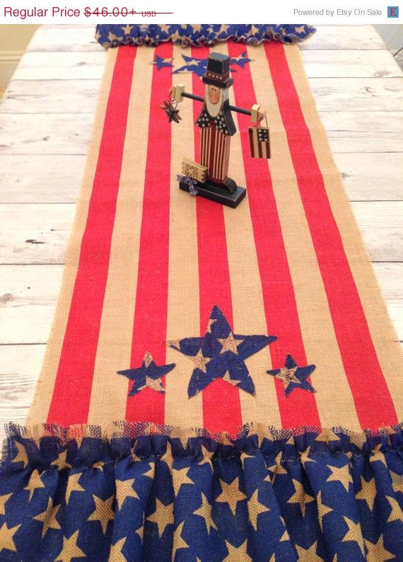 On Sale Patriotic Table Runner Burlap Americana by LollysCubbyHole