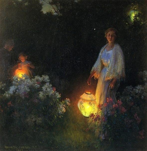 Charles Courtney Curran The Lanterns 1913 Art Romantic Art Art Painting