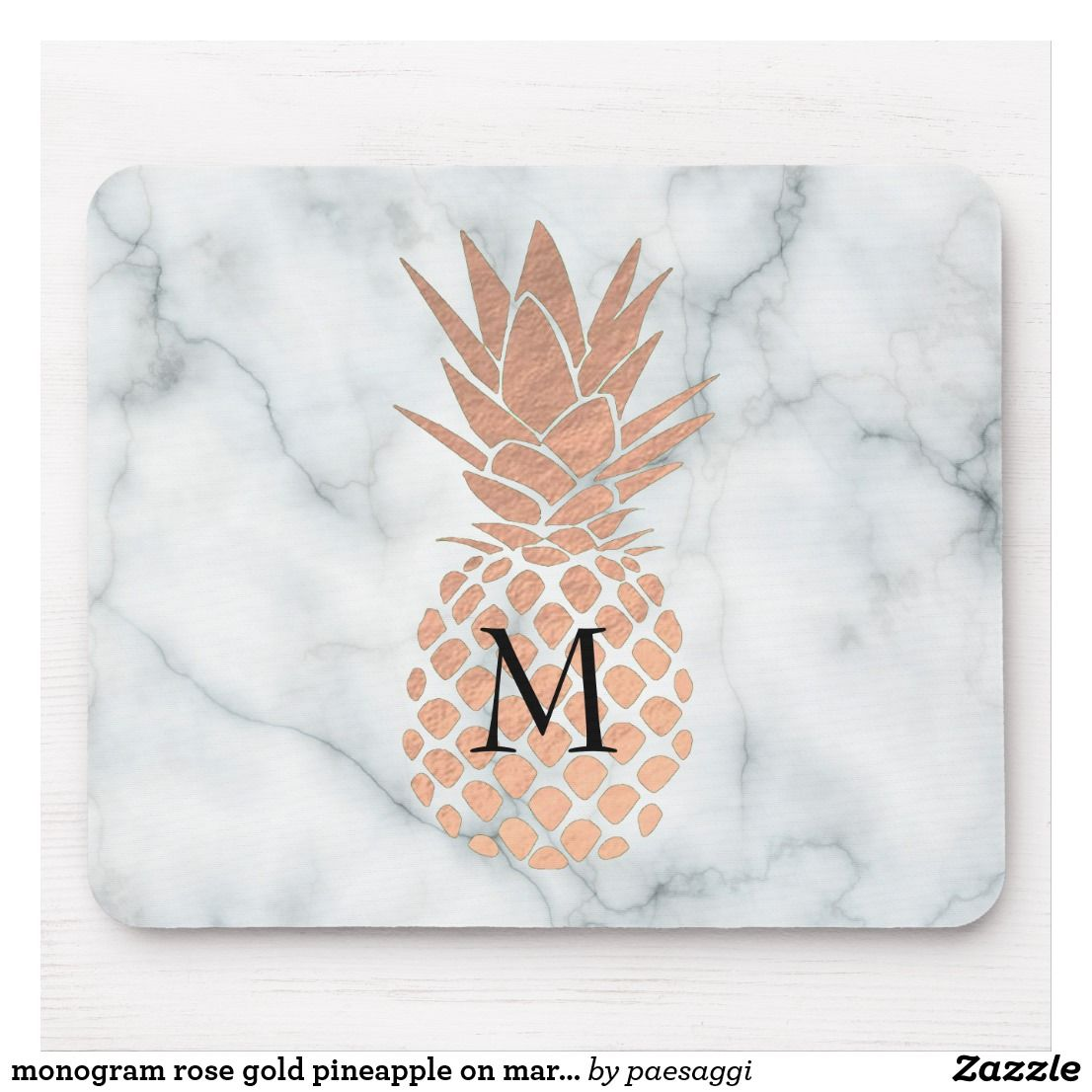 Monogram Rose Gold Pineapple On Marble Mouse Pad Gold Pineapple Wallpaper Pineapple Wallpaper Gold Pineapple