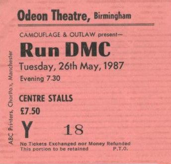 Run DMC ticket 1987