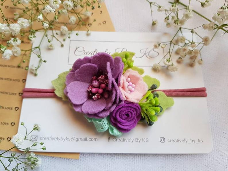Creatively By KS floral purple hairband, felt flower headband, girl nylon band, photo prop #feltflowerheadbands