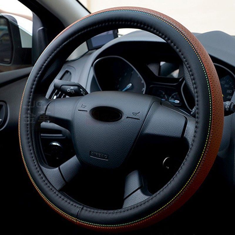Universal 38cm Leather Car Steering Wheel Cover. DIY your steering wheel more fashion and elegant. Add the superfine fiber, it is more wear-resisting and softer. Leather material is great for durability. Soft, clean, pore exquisite, anti-skid and comfortable handle. Easy to install and remove. Perfect fit for the steering wheel.
